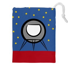 A Rocket Ship Sits On A Red Planet With Gold Stars In The Background Drawstring Pouches (xxl) by Simbadda