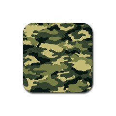 Camouflage Camo Pattern Rubber Square Coaster (4 Pack)  by Simbadda