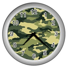 Camouflage Camo Pattern Wall Clocks (silver)  by Simbadda