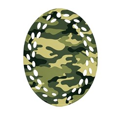 Camouflage Camo Pattern Oval Filigree Ornament (two Sides) by Simbadda