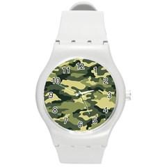 Camouflage Camo Pattern Round Plastic Sport Watch (m) by Simbadda