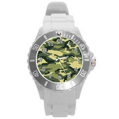 Camouflage Camo Pattern Round Plastic Sport Watch (l) by Simbadda