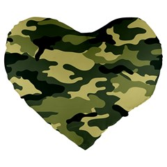 Camouflage Camo Pattern Large 19  Premium Heart Shape Cushions by Simbadda