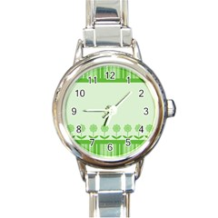 Floral Stripes Card In Green Round Italian Charm Watch by Simbadda