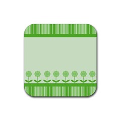 Floral Stripes Card In Green Rubber Square Coaster (4 Pack)  by Simbadda