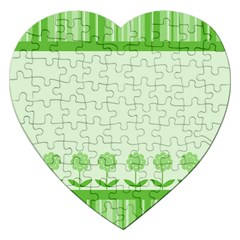 Floral Stripes Card In Green Jigsaw Puzzle (heart) by Simbadda