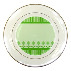 Floral Stripes Card In Green Porcelain Plates by Simbadda