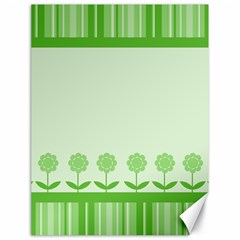 Floral Stripes Card In Green Canvas 18  X 24   by Simbadda