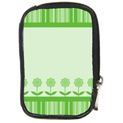 Floral Stripes Card In Green Compact Camera Cases by Simbadda