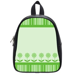 Floral Stripes Card In Green School Bags (small)  by Simbadda