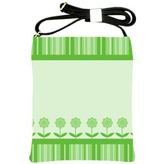 Floral Stripes Card In Green Shoulder Sling Bags by Simbadda