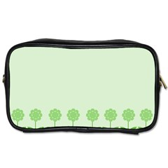 Floral Stripes Card In Green Toiletries Bags 2 Side by Simbadda