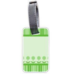 Floral Stripes Card In Green Luggage Tags (two Sides)