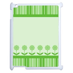 Floral Stripes Card In Green Apple Ipad 2 Case (white) by Simbadda