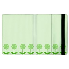 Floral Stripes Card In Green Apple Ipad 2 Flip Case by Simbadda