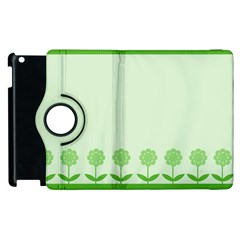 Floral Stripes Card In Green Apple Ipad 2 Flip 360 Case by Simbadda