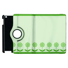 Floral Stripes Card In Green Apple Ipad 3/4 Flip 360 Case by Simbadda