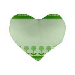 Floral Stripes Card In Green Standard 16  Premium Heart Shape Cushions by Simbadda