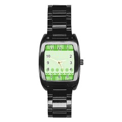 Floral Stripes Card In Green Stainless Steel Barrel Watch by Simbadda