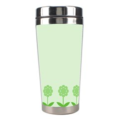 Floral Stripes Card In Green Stainless Steel Travel Tumblers by Simbadda