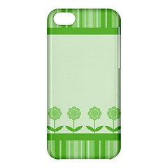 Floral Stripes Card In Green Apple Iphone 5c Hardshell Case by Simbadda