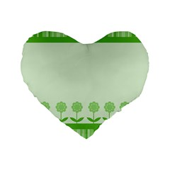 Floral Stripes Card In Green Standard 16  Premium Flano Heart Shape Cushions by Simbadda