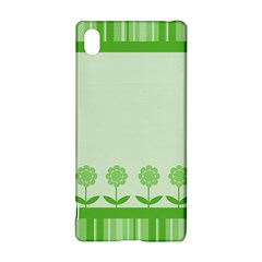 Floral Stripes Card In Green Sony Xperia Z3+ by Simbadda