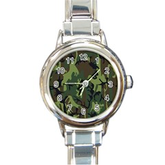 Military Camouflage Pattern Round Italian Charm Watch by Simbadda