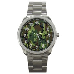 Military Camouflage Pattern Sport Metal Watch by Simbadda
