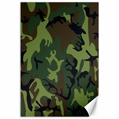 Military Camouflage Pattern Canvas 12  X 18   by Simbadda