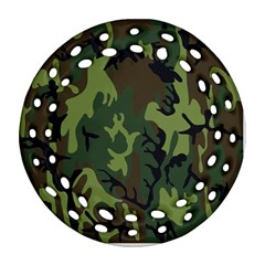 Military Camouflage Pattern Round Filigree Ornament (two Sides) by Simbadda