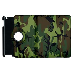 Military Camouflage Pattern Apple Ipad 2 Flip 360 Case by Simbadda