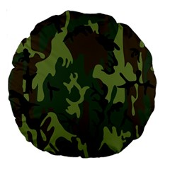 Military Camouflage Pattern Large 18  Premium Round Cushions by Simbadda