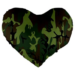 Military Camouflage Pattern Large 19  Premium Heart Shape Cushions by Simbadda