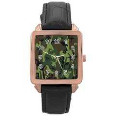 Military Camouflage Pattern Rose Gold Leather Watch  by Simbadda