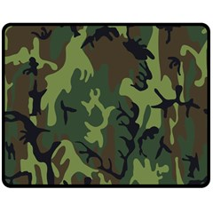 Military Camouflage Pattern Double Sided Fleece Blanket (medium)  by Simbadda