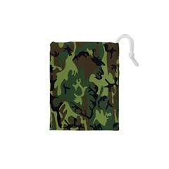 Military Camouflage Pattern Drawstring Pouches (xs)  by Simbadda