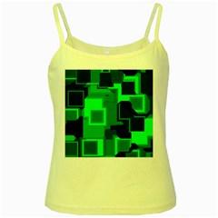 Green Cyber Glow Pattern Yellow Spaghetti Tank