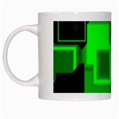 Green Cyber Glow Pattern White Mugs by Simbadda