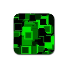 Green Cyber Glow Pattern Rubber Square Coaster (4 Pack)  by Simbadda