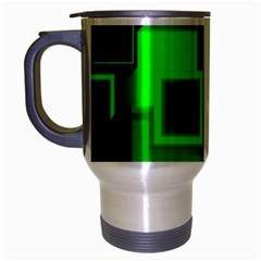 Green Cyber Glow Pattern Travel Mug (silver Gray) by Simbadda