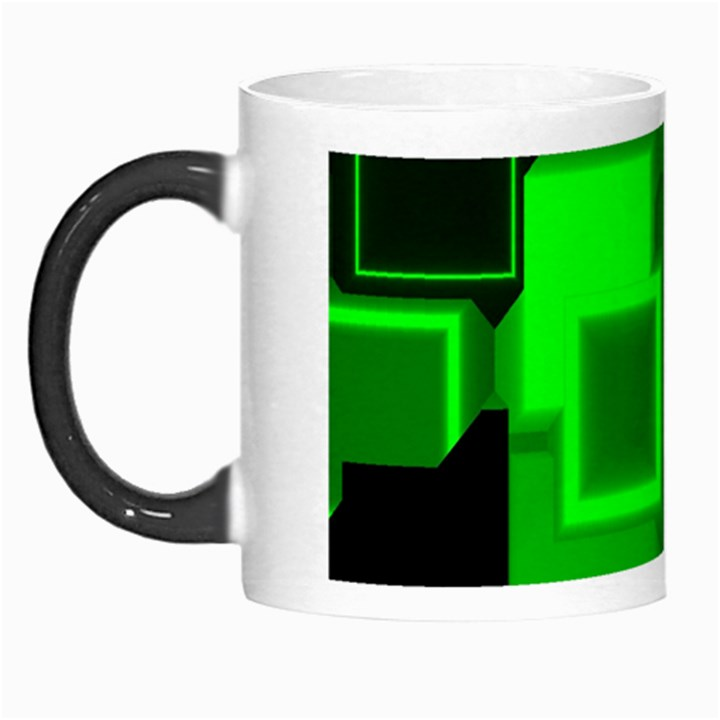 Green Cyber Glow Pattern Morph Mugs