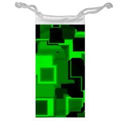 Green Cyber Glow Pattern Jewelry Bag by Simbadda