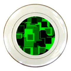 Green Cyber Glow Pattern Porcelain Plates by Simbadda