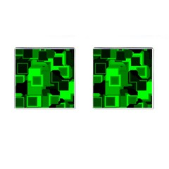 Green Cyber Glow Pattern Cufflinks (square) by Simbadda
