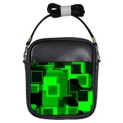 Green Cyber Glow Pattern Girls Sling Bags by Simbadda