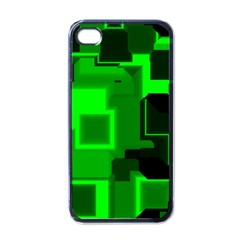 Green Cyber Glow Pattern Apple Iphone 4 Case (black) by Simbadda