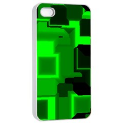 Green Cyber Glow Pattern Apple Iphone 4/4s Seamless Case (white) by Simbadda
