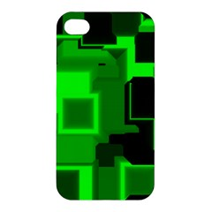 Green Cyber Glow Pattern Apple Iphone 4/4s Premium Hardshell Case by Simbadda