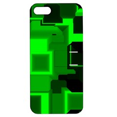 Green Cyber Glow Pattern Apple Iphone 5 Hardshell Case With Stand by Simbadda